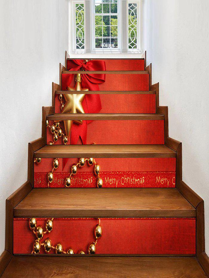 Cheap Christmas Bowknot Snowflake Print Decorative Stair Stickers