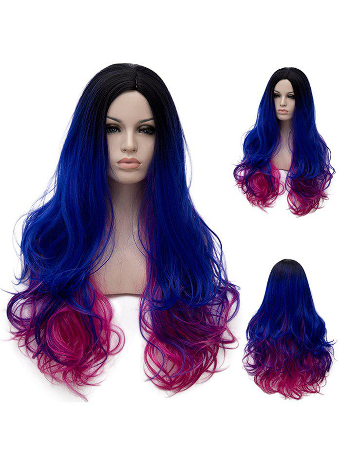 Latest Long Side Parting Colorful Wavy Rainbow Party Synthetic Wig