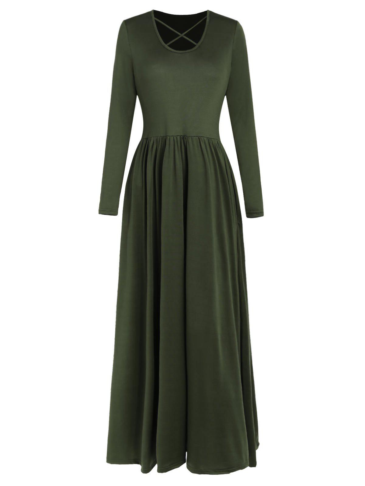 Outfit Full Sleeve High Waist Maxi Dress