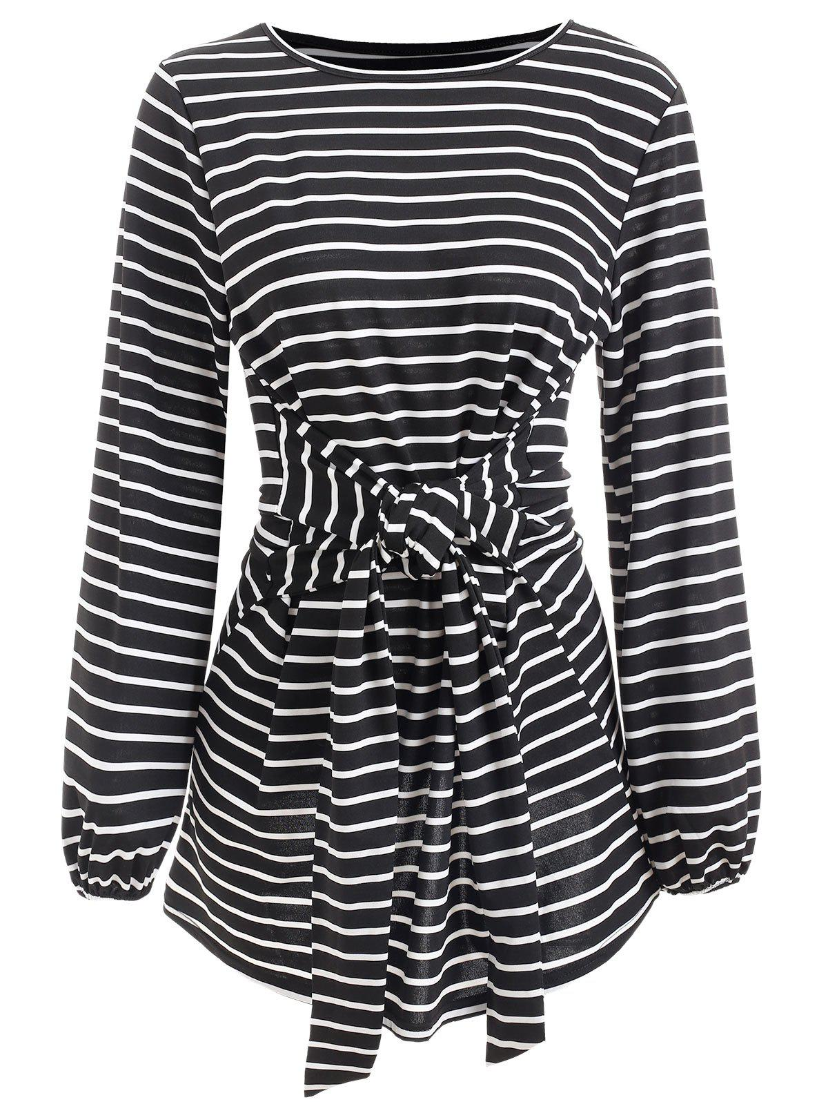Discount Full Sleeve Belted Stripe Dress