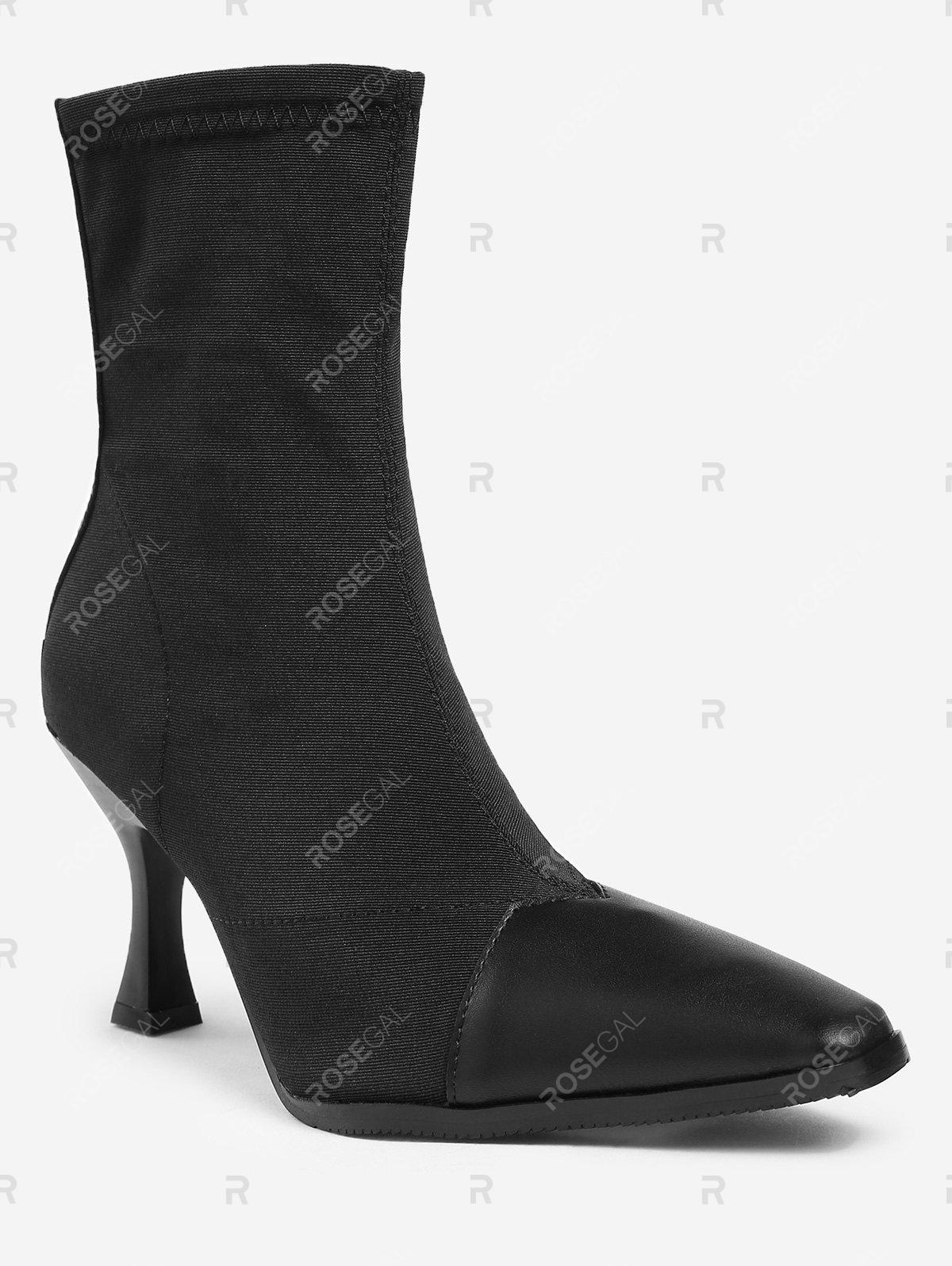 Discount Pointed Toe Cap High Heel Ankle Boots