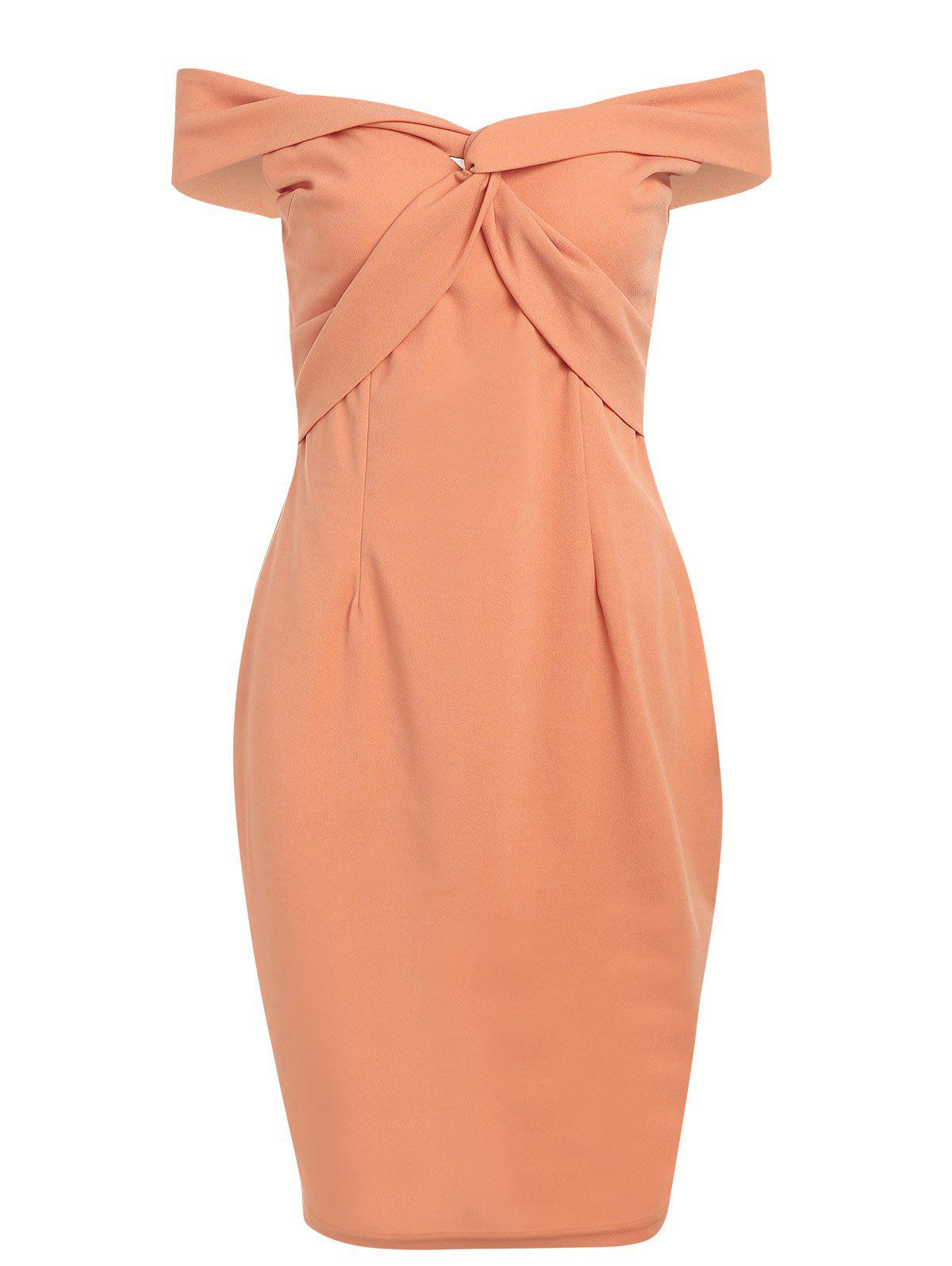 Fashion Twist Front Bodycon Bardot Dress