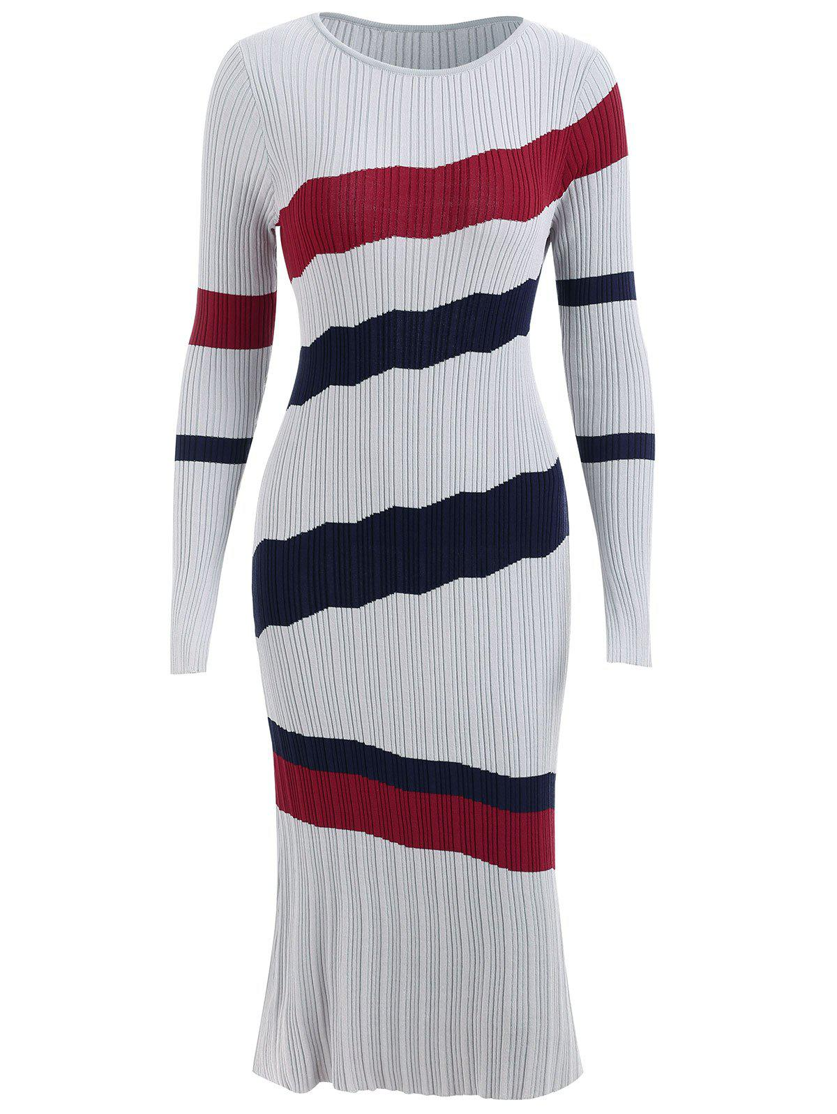 Fashion Striped Ribbed Sweater Dress