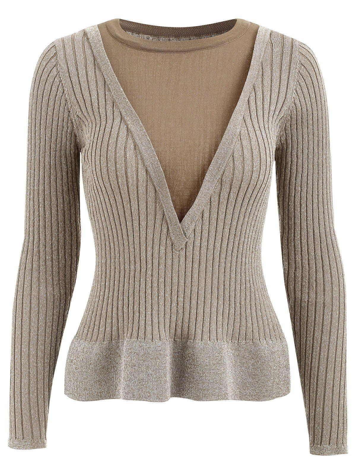 Chic False Two Piece Glitter Knitwear