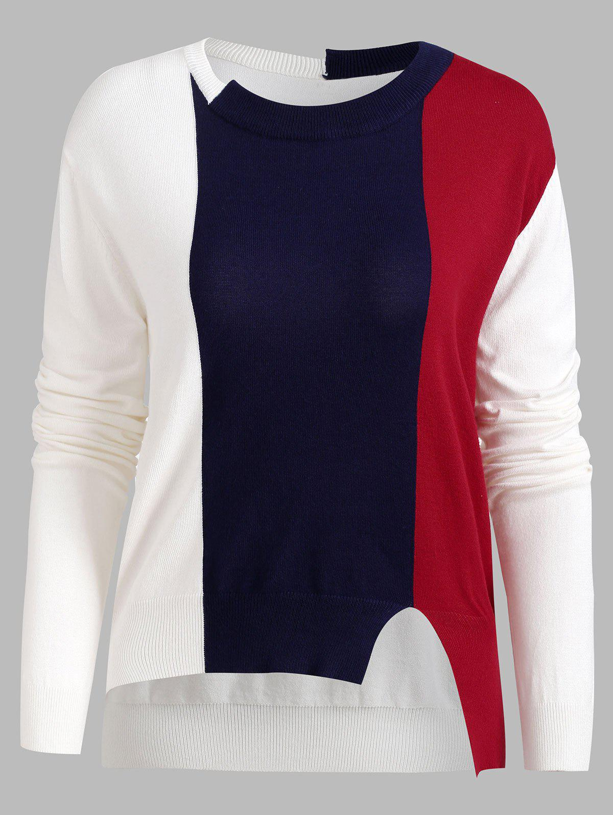 Trendy Color Block Slit Knitwear