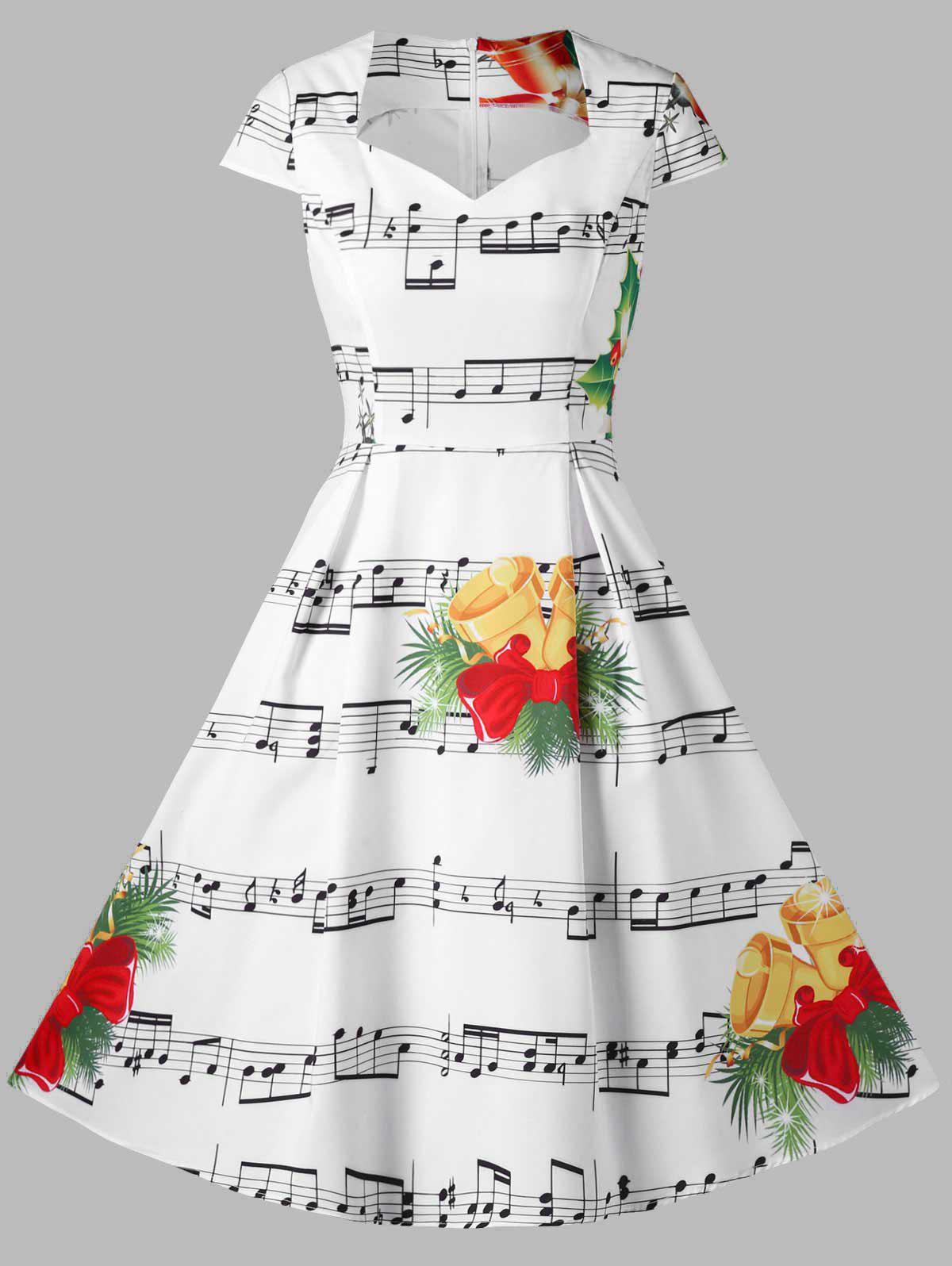 Cheap Christmas Music Note and Bell Print Dress
