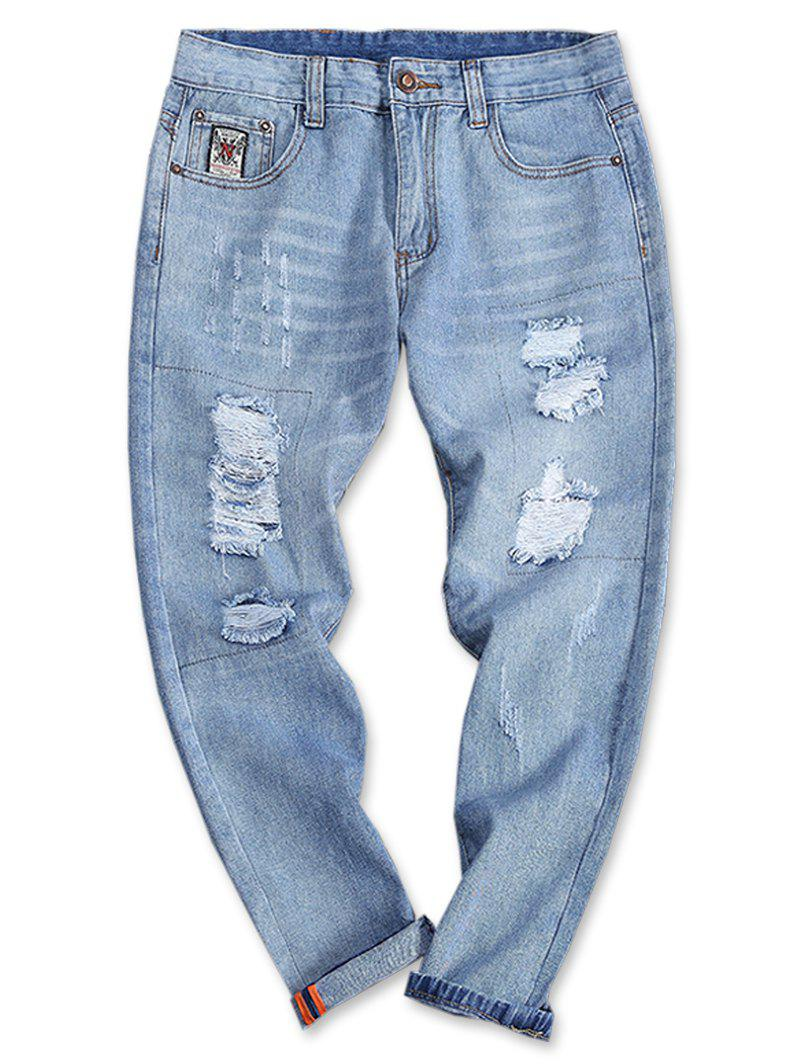 Shop Turnup Bottom Light Wash Torned Jeans