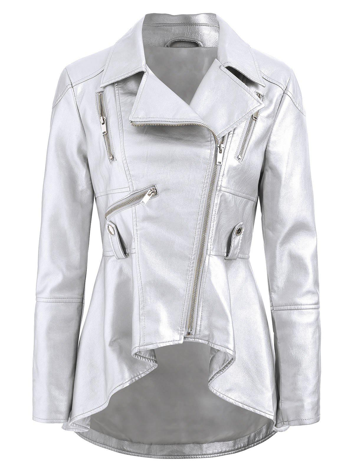 Best Faux Leather High Low Zip Jacket