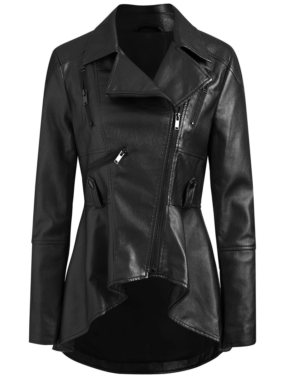 Latest Faux Leather High Low Zip Jacket
