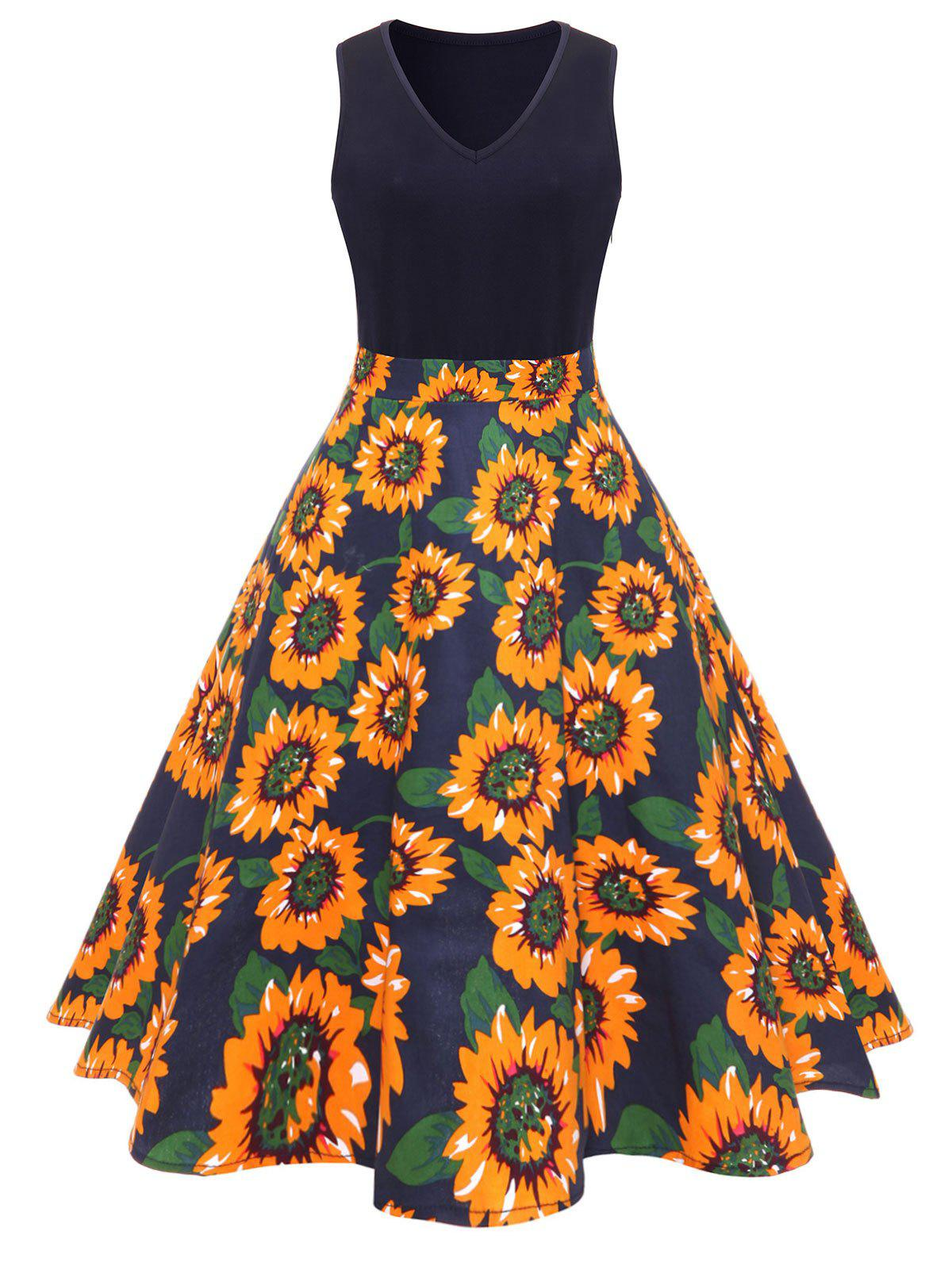 9c198ce1a2e5 40% OFF] Vintage Sunflower Print Fit And Flare Dress | Rosegal