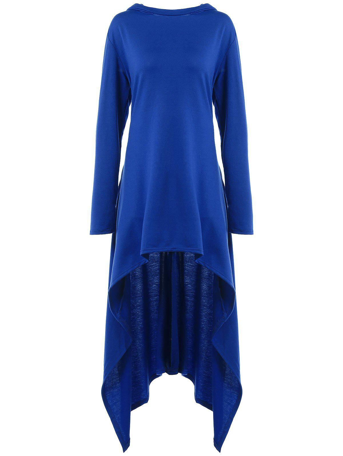 Buy High Low Hooded Dress with Long Sleeves