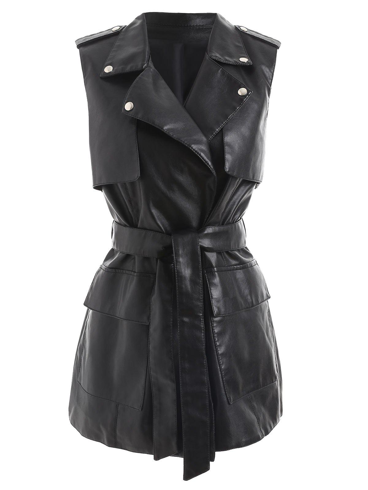 Online Faux Leather Waistcoat with Belt
