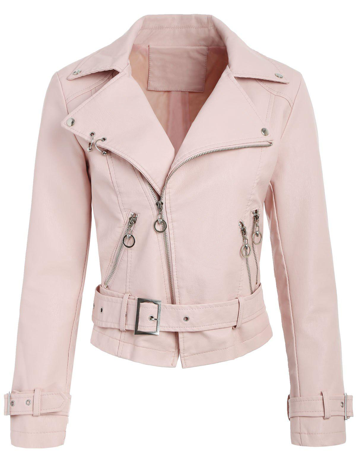 Affordable Belted Zippers Faux Leather Jacket