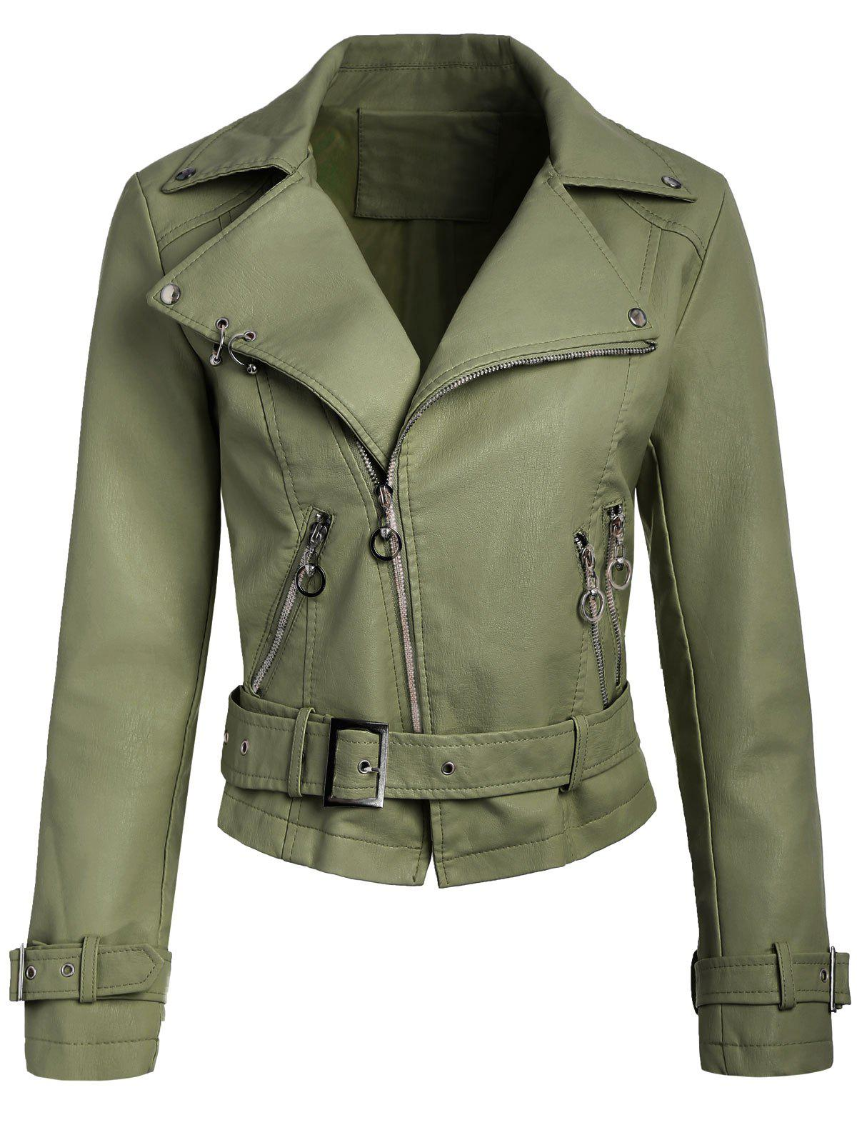 Best Belted Zippers Faux Leather Jacket