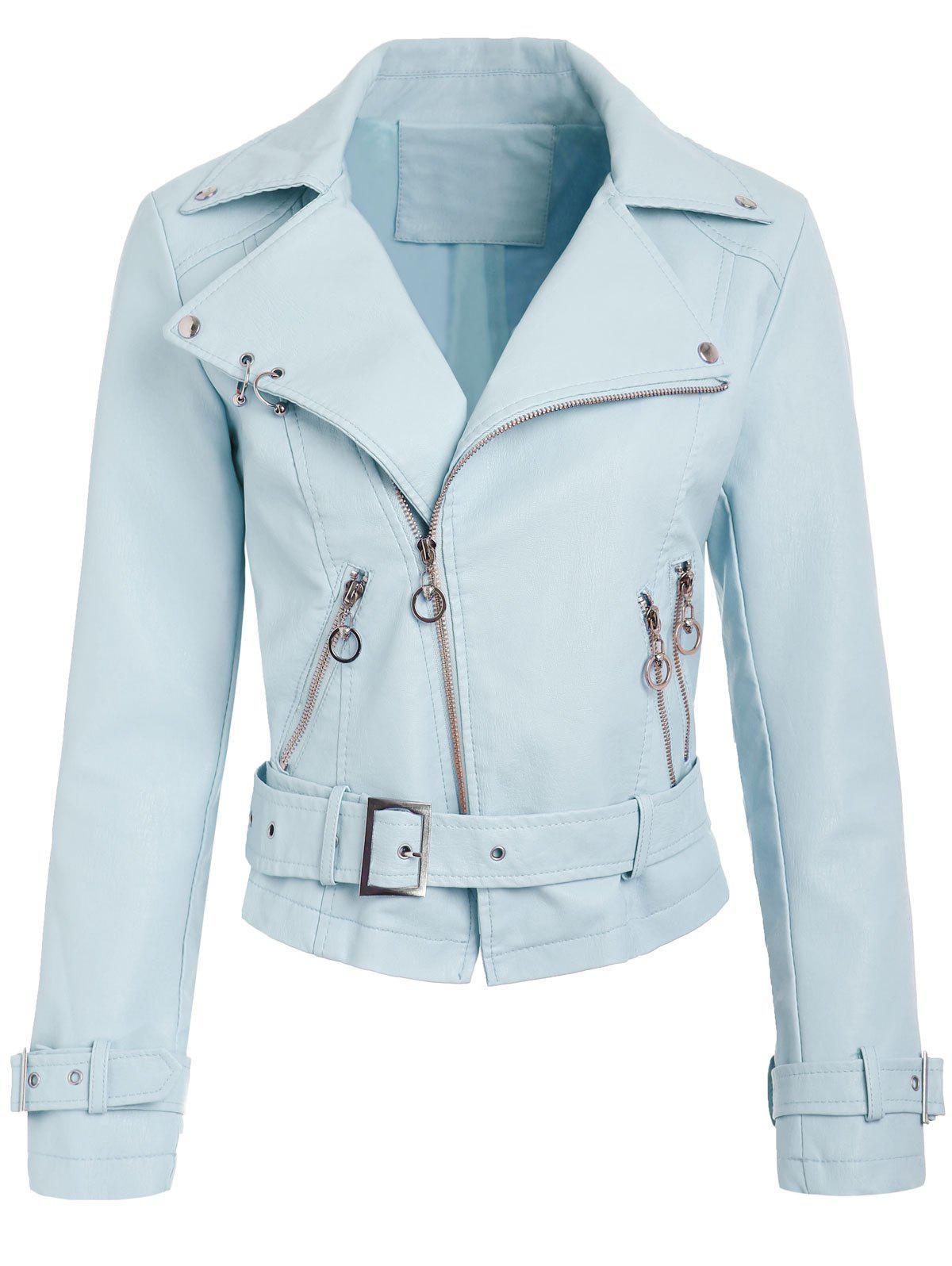 Shops Belted Zippers Faux Leather Jacket