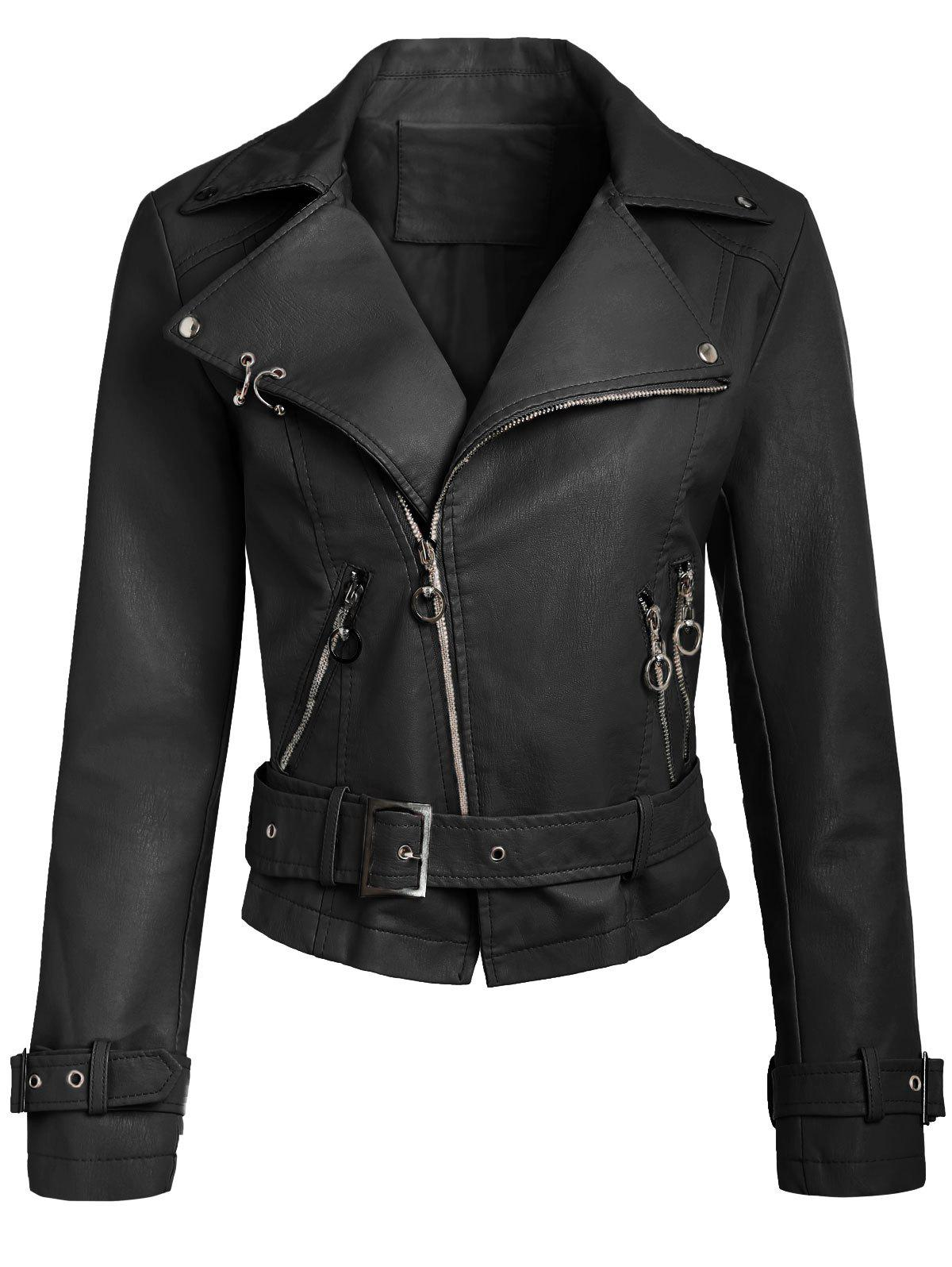 Cheap Belted Zippers Faux Leather Jacket