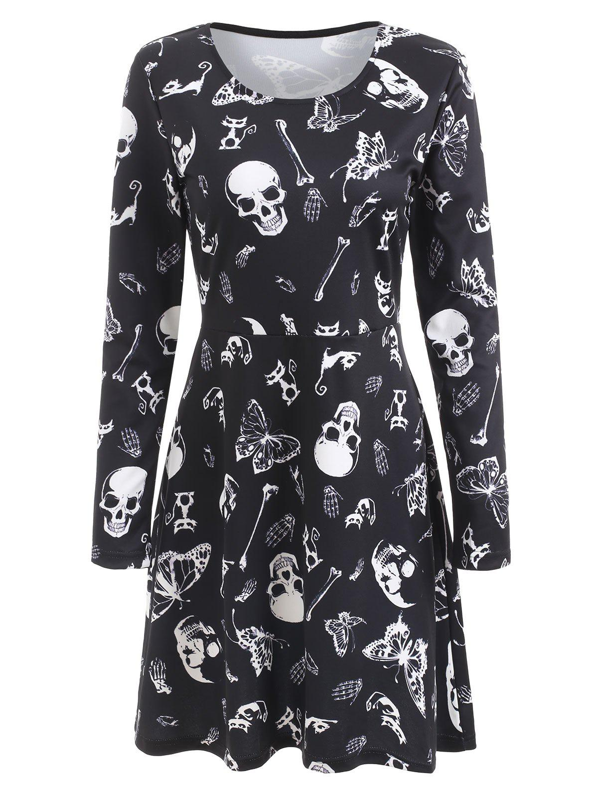 Fancy Halloween Skulls Butterflies Print Flare Dress