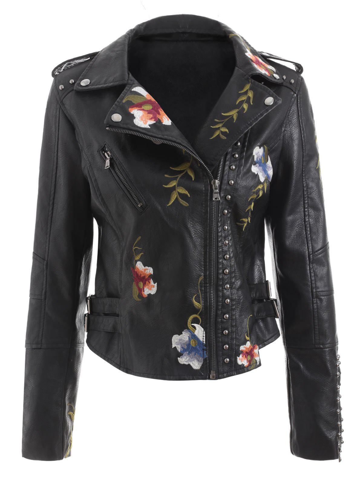 Latest Faux Leather River Embroidered Jacket