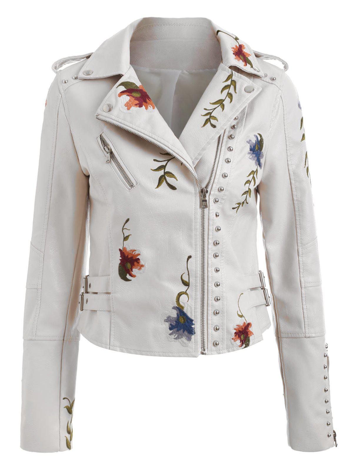 Hot Faux Leather River Embroidered Jacket