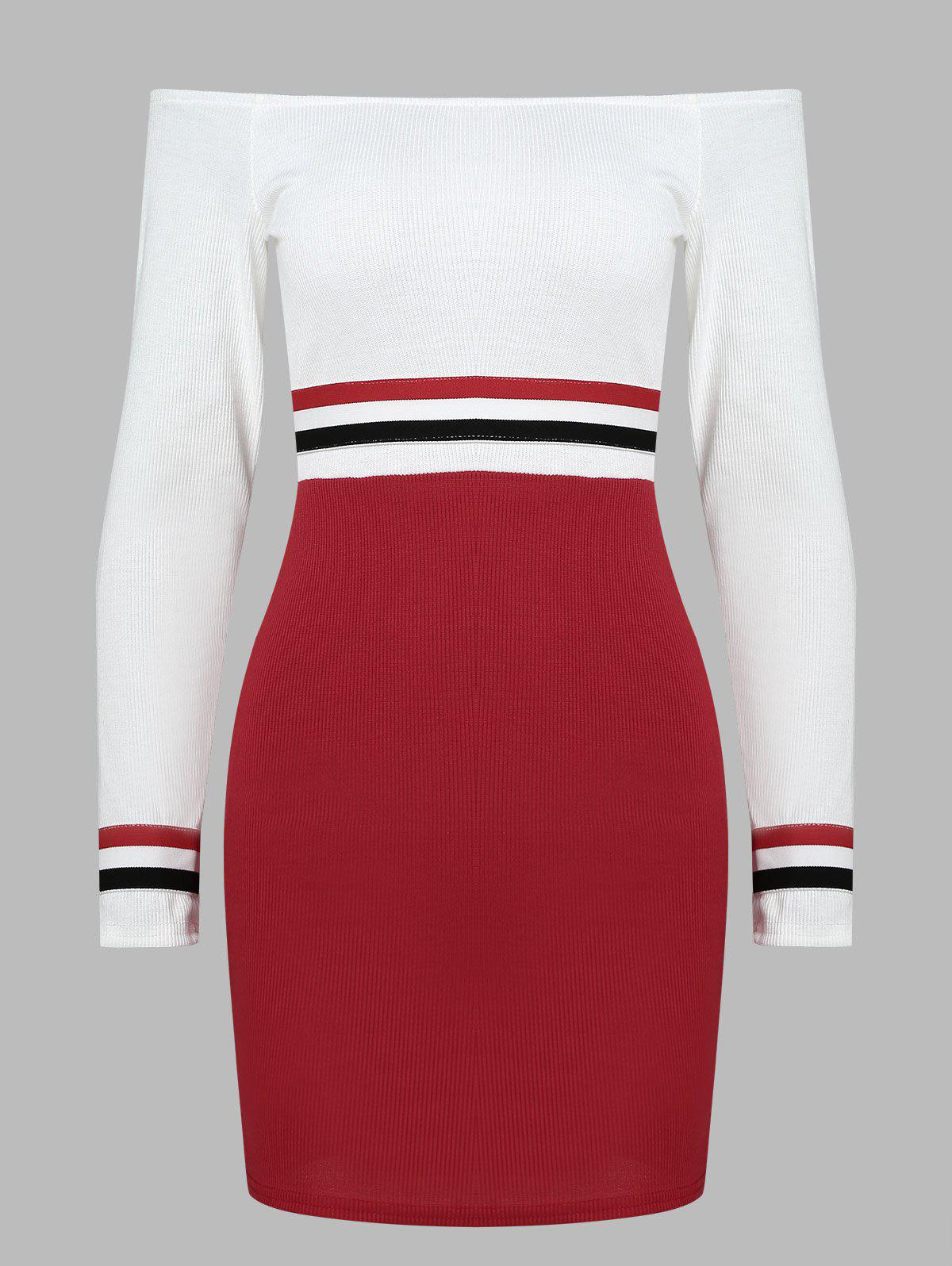 Trendy Full Sleeve Fitted Stripe Knit Dress