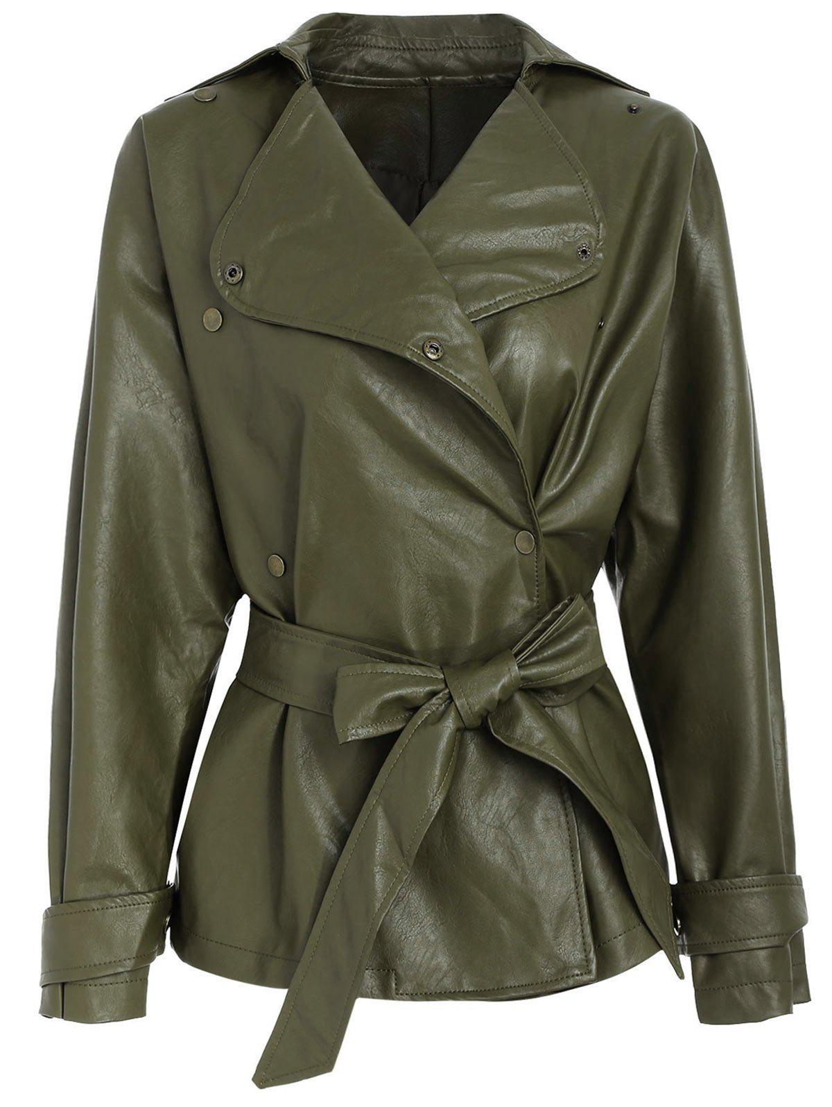 Online Faux Leather Belted Turndown Collar Jacket