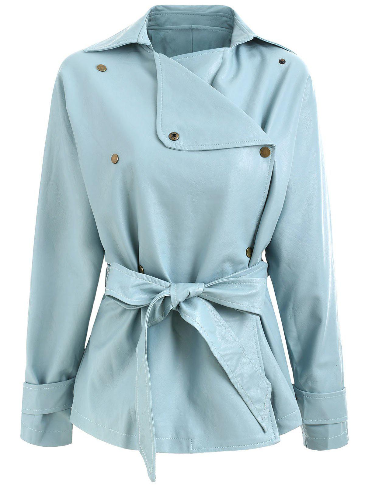 Discount Faux Leather Belted Turndown Collar Jacket