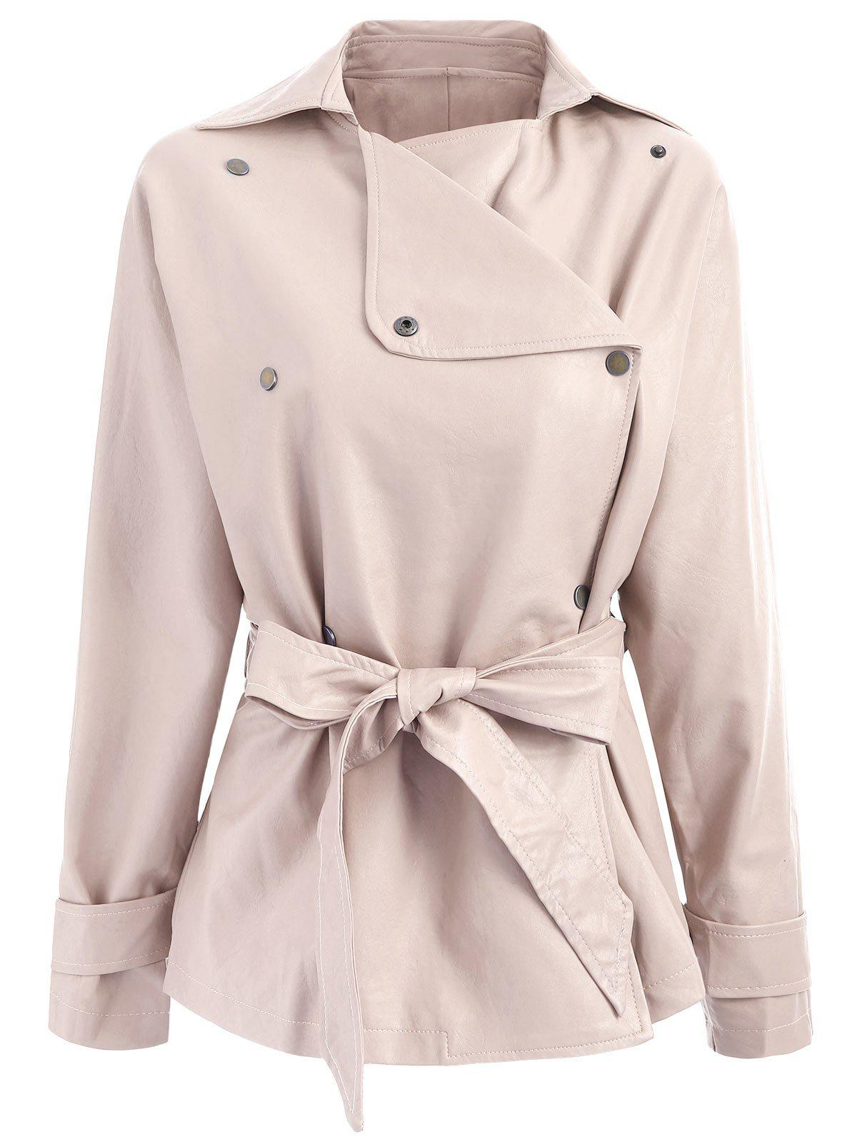 Chic Faux Leather Belted Turndown Collar Jacket