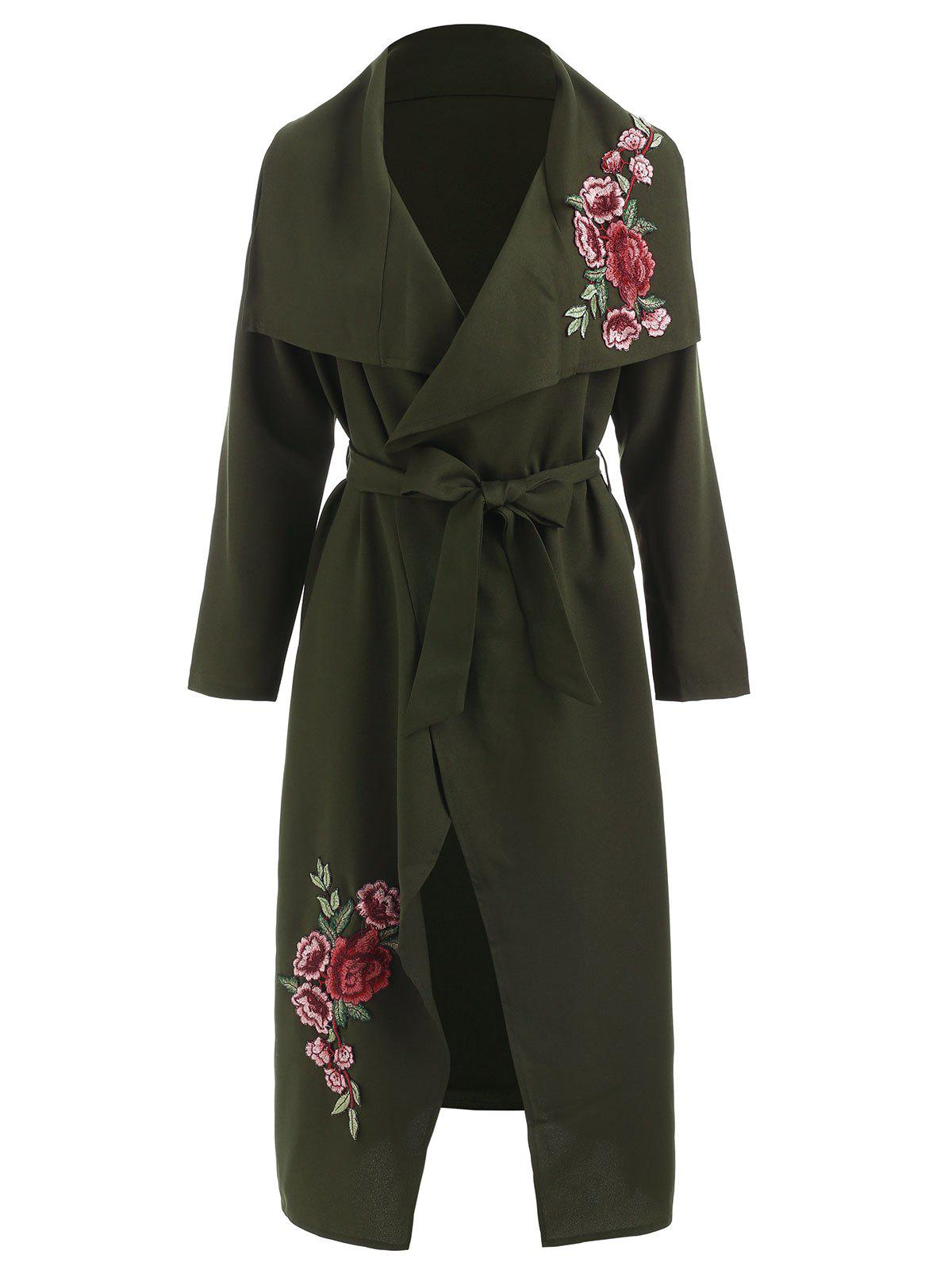 Latest Floral Embroidery Maxi Wrap Coat