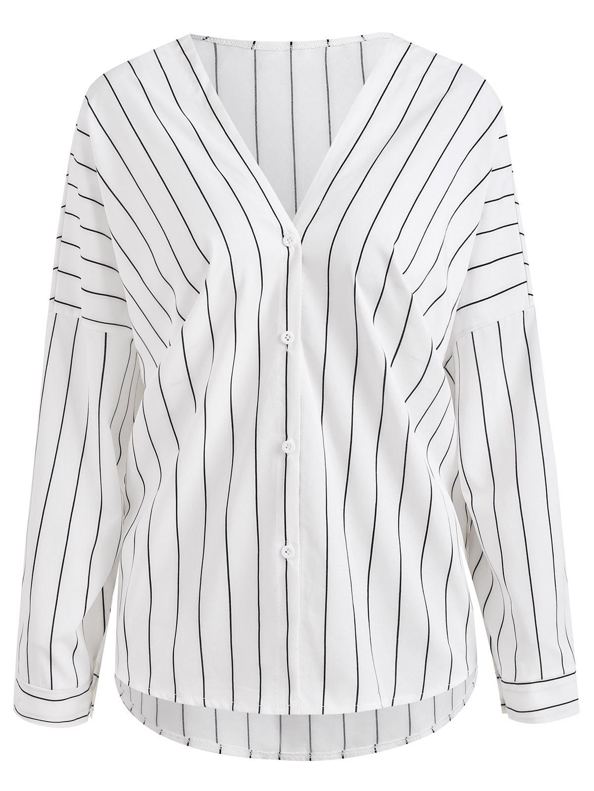 Outfit Vertical Stripe V Neck Shirt