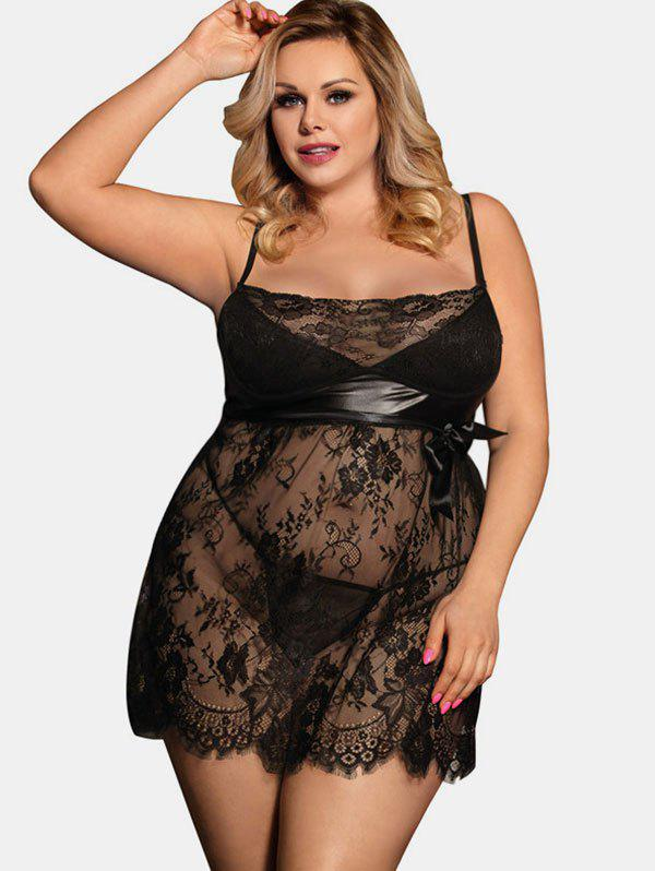 Chic See Through Plus Size Lace Panel Babydoll