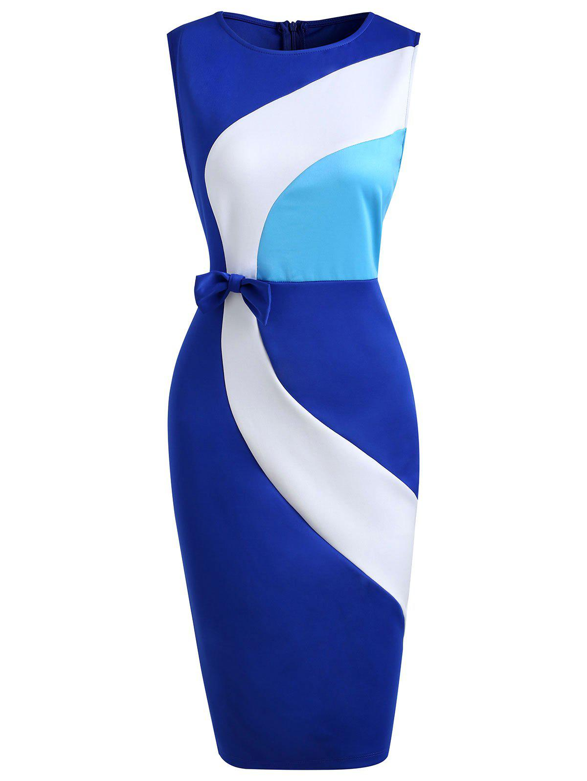Chic Bowknot Embellished Color Block Bodycon Dress
