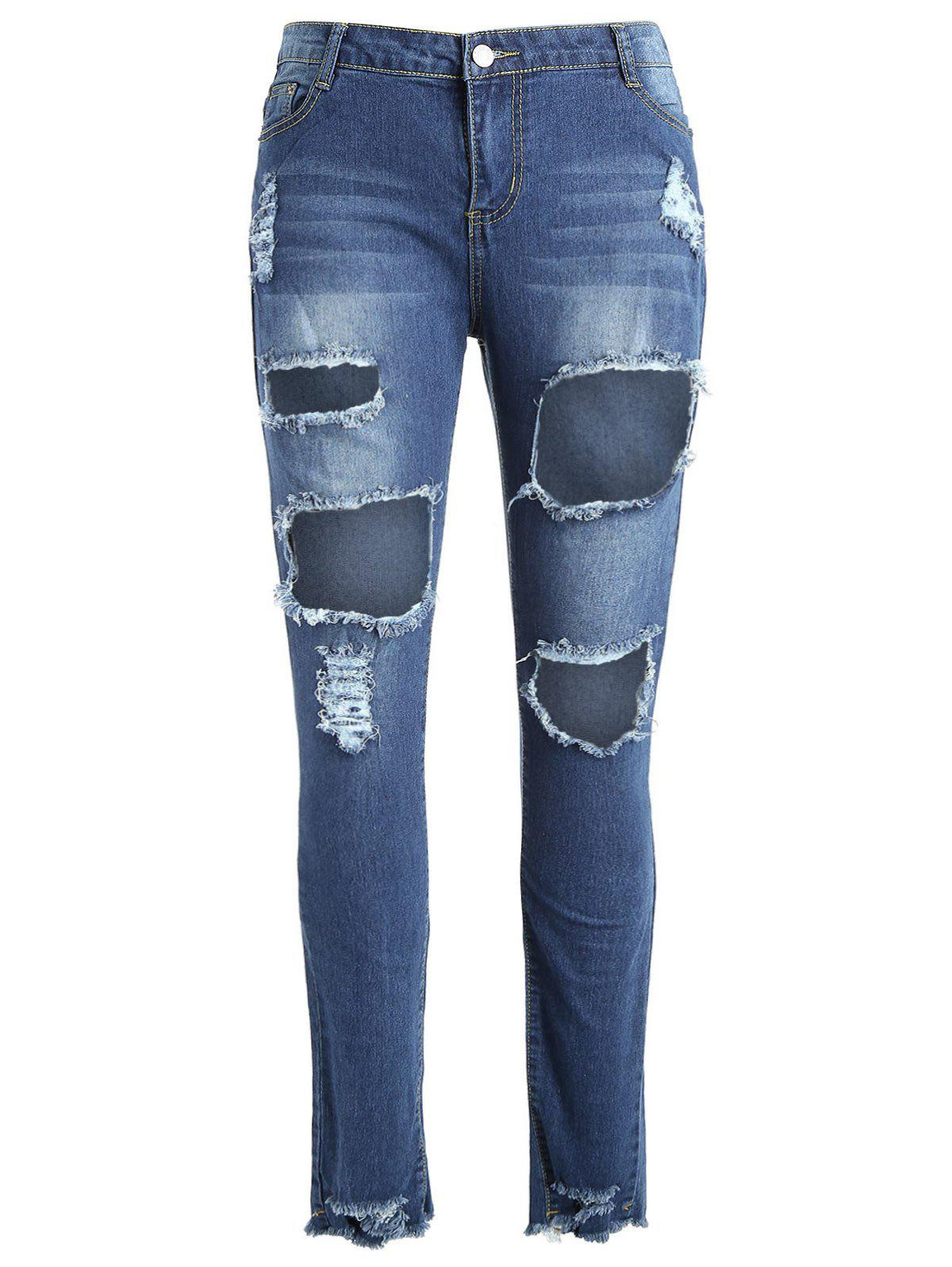Discount Plus Size Fringed Torn Jeans