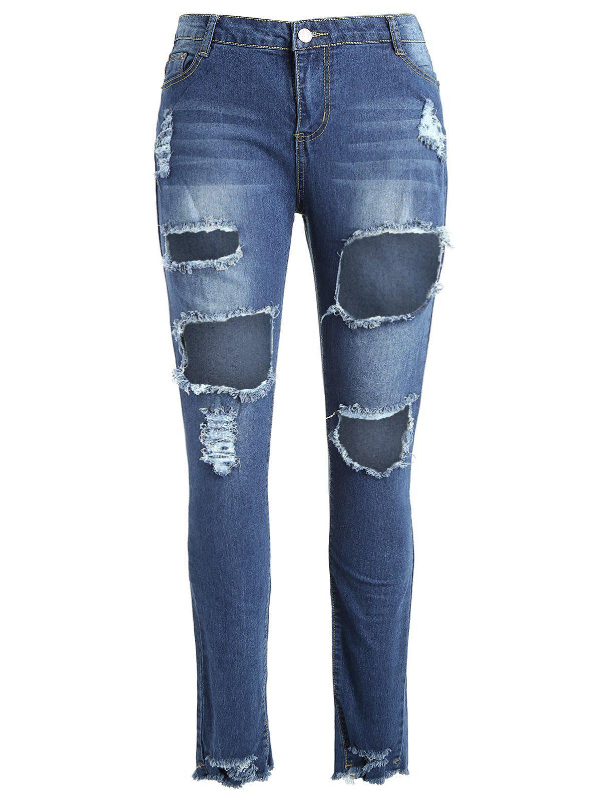 New Fishnet Panel Plus Size Torn Jeans