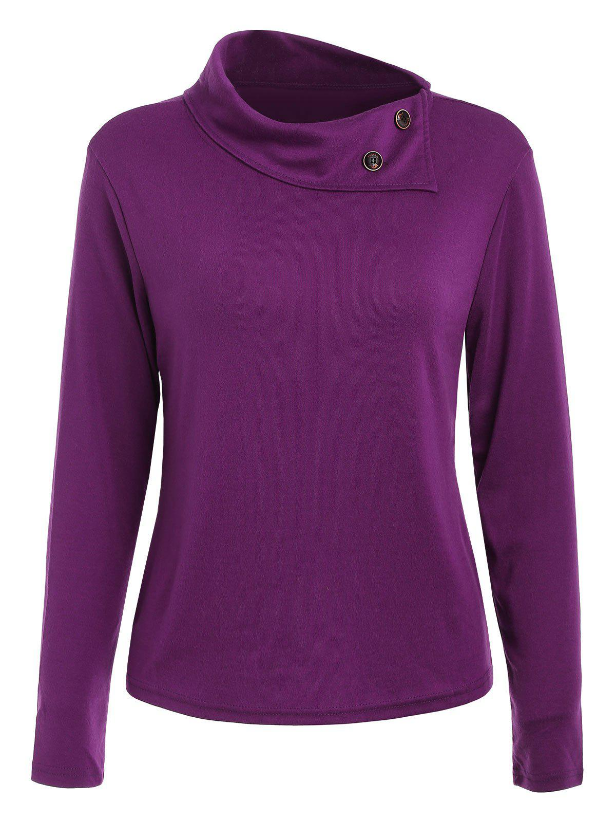 Unique Casual Buttoned Cowl Neck Solid Color Long Sleeve T-Shirt For Women