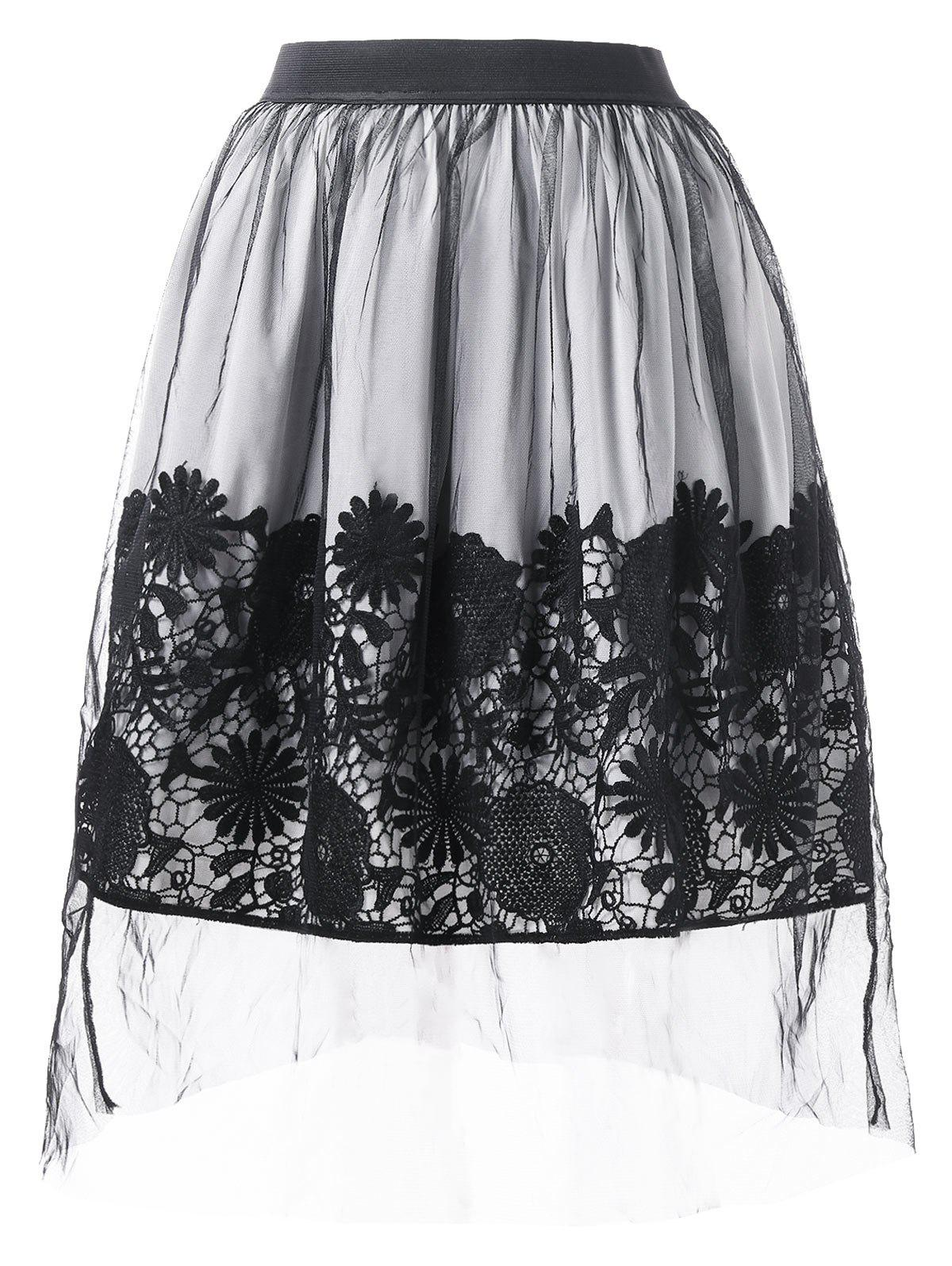 Fashion Lace Applique Mesh Overlap A Line Skirt