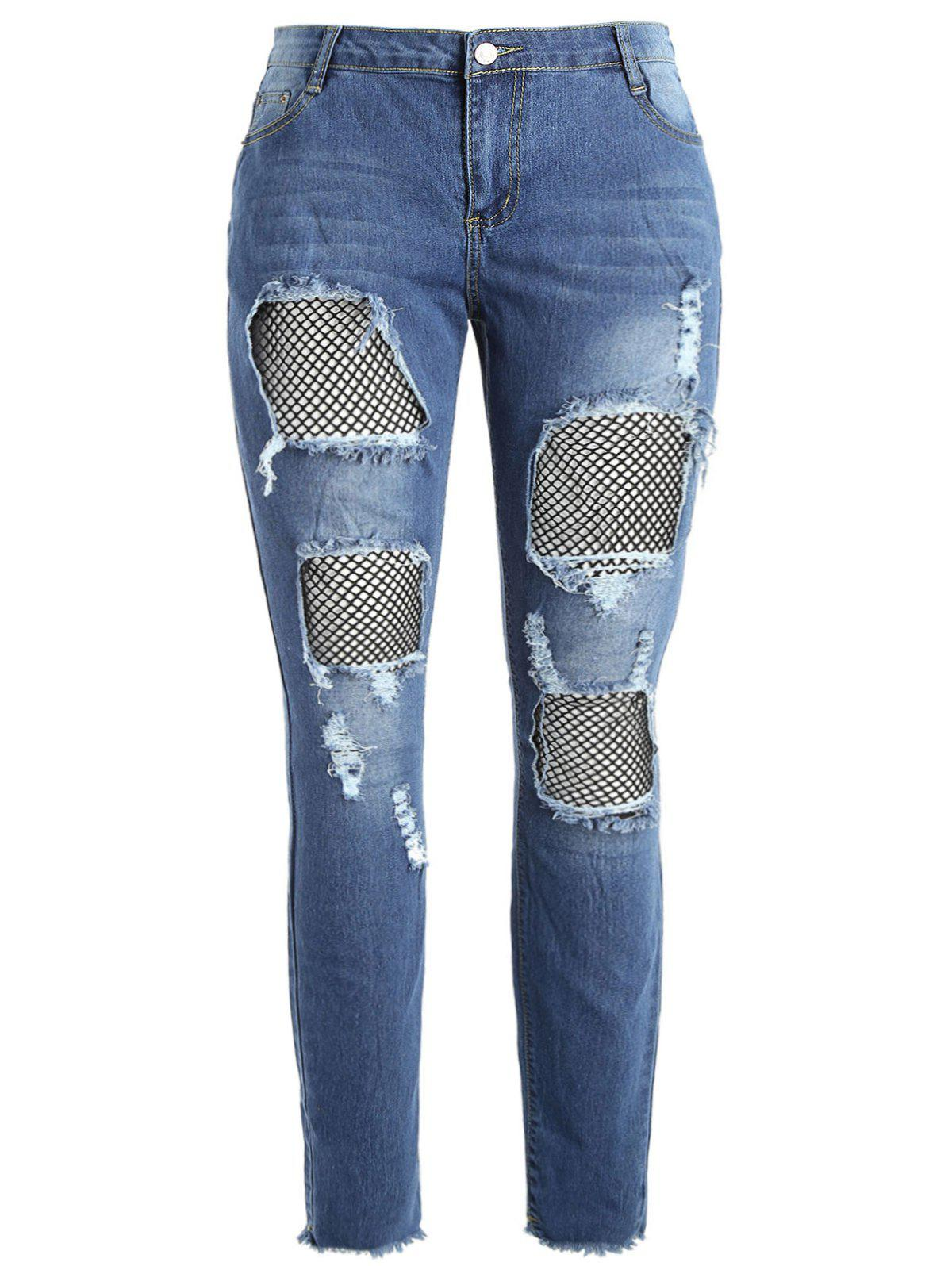 Latest Plus Size Fishnet Panel Torn Jeans