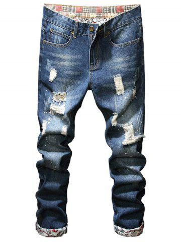 Ripped Pockets Distressed Jeans