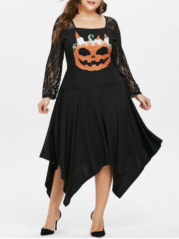 Plus Size Halloween Pumpkin Handkerchief Dress