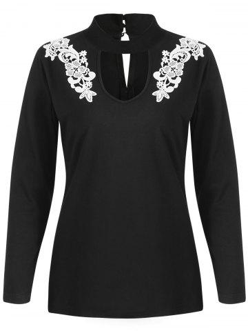 Floral Applique Cut Out Full Sleeve T-shirt