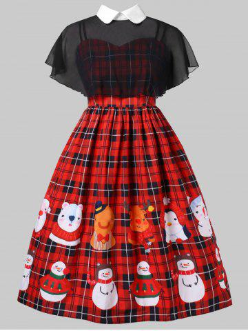 Plus Size Christmas Print Pin Up Dress With Mesh Cape