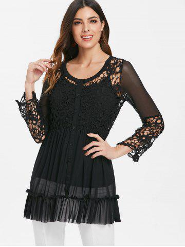 See Through Lace Mesh Insert Top With Cami Top