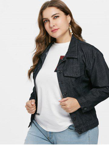 63f87163d95 Embroidered Plus Size Jean Jacket