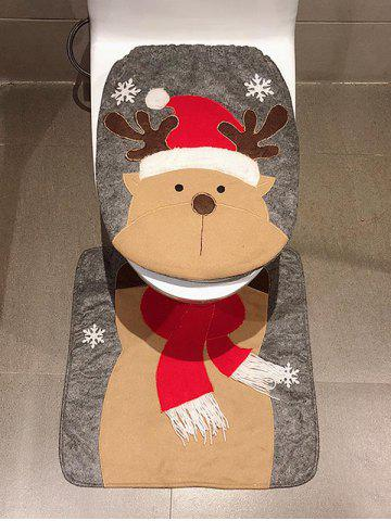 Christmas Deer Print 2 Pcs Toilet Bath Mat - SANDY BROWN