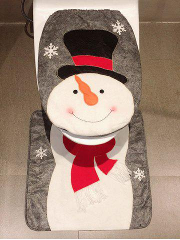 Christmas Snowman Print 2 Pcs Toilet Bath Mat - WHITE