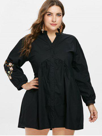 Embroidery High Waist Plus Size Shirt Dress