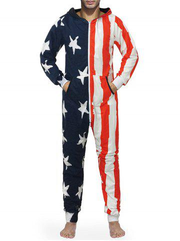 American Flag Print Zip Up Hooded Jumpsuit