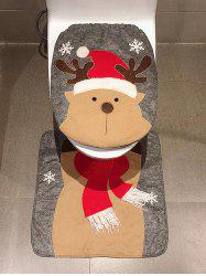 Christmas Deer Print 2 Pcs Toilet Bath Mat -
