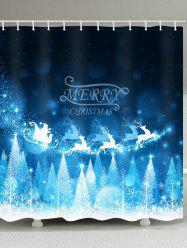 Christmas Tree Elk Print Waterproof Shower Curtain -