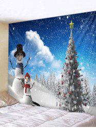 Christmas Tree and Snowmen Pattern Home Decor Tapestry -