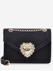 PU Leather Faux Pearl Chain Crossbody Bag -